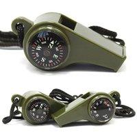 Outdoor Gadgets Pfeife Kompass Thermometer 3 in 1 Camping Wanderzubehör Multifunktionsüberleben Werkzeuge Nylon-Nackenseil