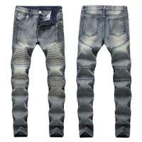 Mens de outono Jeans rasgados Slim Fit Denim Calças Tiedye Homens Plissados Motocicleta Motocicleta Hip Hop Strech para Homem