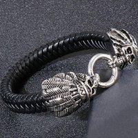 Ampio braccialetto in pelle nera intrecciata da uomo uomini braccialetti in acciaio inox Braccialetti Braccialetti Bangle Boys Gothic Jewelry Drop Tennis