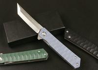 New Flipper Folding Knife 8Cr14Mov Satin Tanto Point Blade G10 + Stainless Steel Sheet Handle Ball Bearing Fast Open EDC Pocket Knives