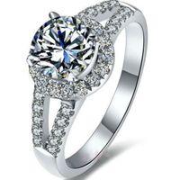 2 CT 우수한 라운드 헤일로 링 D 색상 NSCD 시뮬레이션 된 다이아몬드 약혼 반지 여성용 18K 화이트 골드 도금 상자