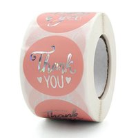 1.5inch 500pcs Thank You Adhesive Stickers Pink Label Wedding Business Gift Baking Envelope Party Decor