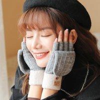 Fünf Fingern Handschuhe FRALU Herbst und Winter gestrickte Alpaka Damen im Freien winddichte Wärme Fingerlose Flip Cover All-Match Woolen