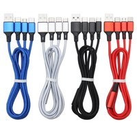 1.2m 2.4A Quick 3 in 1 Nylon Braided Charging Cables Micro USB Type-C for Samsung Android Charger Cord Fast Phone Cable