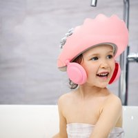 キャップ帽子1ピースの子供のシリコンシャンプーキャップ調節可能なシャワーバス耳の保護具のキャンディーカラーヘアシールド帽子1506 b3