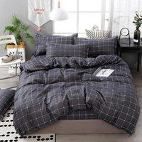 Bedding Sets 3 4pcs Set Geometric Pattern Cotton Comforter Set Black Bed Linen Duvet Cover Grey No Filler Home Textile