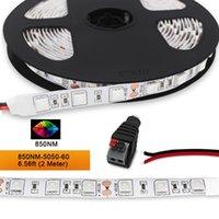850nm LED Light Strip 12 V Single Chip Flexível 120 LEDs 4.8W / M 2M / Reel 8mm-Wide Não-impermeável, Para Tiras de Câmera Infravermelha