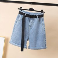 Spring Summer High Waist Blue Womens Shorts Denim With Belt Streetwear Female Loose Fit Wide Leg Jeans