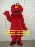 Freak rouge vif elmo Monster Monster Monster Costume Mascot Adulte Peluche Fourrure longue fourrure Mascota Costumes Mascotte avec conglobate Nez n ° 280