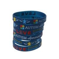 6pcs Autisme Bracelets de sensibilisation crée Changer le bracelet en silicone Bleu 97QF Charm