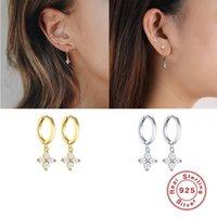 Real 925 Pendientes de plata para las mujeres Oro Zircon Flower GIRSL Oreja Oreja Piercing Pendiente Femenino Aretes Regalos Hoop Huggie