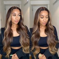 Honey Blonde Highlight Wig Human Hair Wigs 26inch Ombre Body Wave 13x4 Lace Front Human Hair Wigs Malaysian Lace Closure Wigs