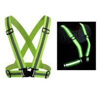 조정 가능한 남성 Wome Reflective 조끼 안전 보안 테이프 높은 가시성 조끼가 하이킹을위한 기어 줄무늬 4x1.5cm 걷는 자전거