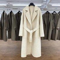 Lanas de las mujeres mezclas de estilo coreano de estilo de invierno Largo Casual 100% Cashmere Coat Chic Bifurcation Bathrobe Women Woolen Flyr043
