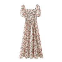 Parti Elbiseler Vintage Floar Elbise Kadınlar Zarif Puf Kollu Elastik Straplez Kılıf A-Line Baskı Uzun Kafes Yaz Bohemian
