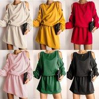 Robes décontractées mode d'automne épaule froide manches longues bande élastique bande décontractée robe rue p o