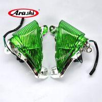 Arashi för Kawasaki Ninja ZX6R / 636 2005 - 2010 2009 / ZX10R 2006 - 2007/650R 2006 - 2008 Front Turn Signal Green Lens Cover Indicator