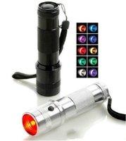 LED LED RGB Color Cambio de la linterna de la antorcha, 3W aleación de aluminio RGB Edison Multi Color linterna Linterna Linterna del arco iris de colores Flash