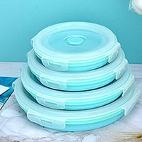 Botellas de almacenamiento Frascos de silicona Plato de silicona Caja de almuerzo portátil Microondas Tazón de fuente Ronda Bento Bento Eco-Friendly Food Lunchbox