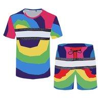 Дизайнер Мужские трексуиты Спортивная одежда Красочная буква Печать Мужские футболки Костюм Летний Пляж Шорты футболки Наборы для мужчин