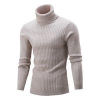 Camisolas masculinas Casuais Homens Inverno Cor Sólida Tartaruga Pescoço De Manga Longa Torção De Malha Slim Camisola Pullover Bronzeamento