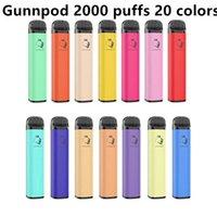 최고 품질 gunnpod 담배 일회용 전자 담배 장치 키트 2000 퍼프 1250mAh 배터리 미리 포장 된 8ml 포드 스틱 vape 펜 대 cuvie plus hzko