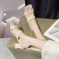 2021 летние женщины слайды тапочки тканые римские тапочки женские богемные этнические стиль большой размер толстые пятки женская обувь Trend SDS211