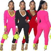 Women Designers Clothes 2021 Spring Deep V-neck Zipper Sexy Slim Long Sleeve Leggings Color Matching Large Jumpsuit Onesies Rompers Pajama