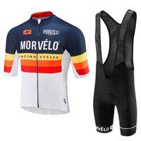Bisiklet Jersey Morvelo Takımı Erkekler Kısa Kollu Bisiklet Tops BIB Şort Set Yaz Hızlı Kuru Bisiklet Açık Spor