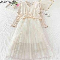 Joinyouth Herbst Kleidung Frauen Kleid Anzug 2 Stück Set Gaze Plissee Maxi Kleider + Strickweste ROPA MUJER 2 Stück Set 7A1071 210423