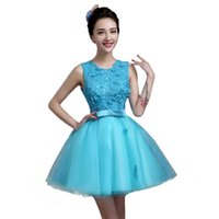 Bridesmaid Dress Girl Ice Blue Sweat Lovely High-quality Princess Party Sleeveless Performance Singing Gown