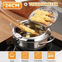 Japanischer Stil Frittier-Topf-Thermometer Tempura Fritteuse Pan Temperaturregelung Gebratener Hühnertopf Kochwerkzeuge Küchenutensilien 210319