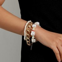 Link, Chain States Accessories Exaggerated Large Irregular Pearl Bracelet Female Fashion Punk Aluminum Jewelry Three-piece Suit