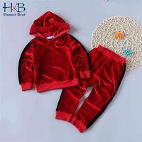 الفتيات الملابس مجموعات الطفل الشتاء الخريف الزي طويل الأكمام المخملية الأطفال أطفال رياضية دافئة مقنع الملابس البدلة 210611