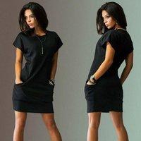 Casual Dresses Women Pocket Loose Female Dress Summer For Short Sleeve O Neck Mini Office Lady Work Vestidos