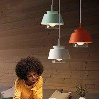 북유럽 현대 펜 던 트 조명 램프 다채로운 철 집 침실 용 식당 바 장식 조명기 서스펜션 E27 전등 설비
