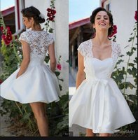 2021 Real photo boho short reception wedding dress strapless with lace jackets knee length petite girl's bridal gowns informal sexy summer beach bride dresses