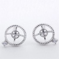 Circle Twist Earring Settings 925 Sterling Silver Stud Earri...