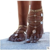 Retro Beach Anklets Metal Foot Decoration Multi-layer Tassel Chain Anklet 1220566