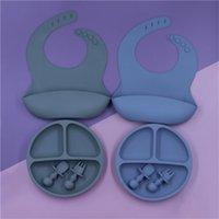 طفل سيليكون أدوات المائدة مجموعة الرضع بلون ماء مريلة الوليد تغذية تجشؤ القماش طفل عشاء لوحة وميني ملعقة 1166 Y2