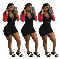 Women Jumpsuits Rompers summer clothes sportswear sexy club solid color button panelled long sleeve deep-v neck leggings shorts bodysuits yoga cycling wear 01764