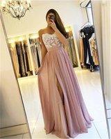 2021 Blush Rose Longues demoiselle d'honneur Robes de demoiselle High Split Spaghetti A-Line Appliques Dress Midiquage Robe de mariée de mariée