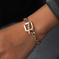 Link, Chain Creativity Retro Geometry Square Thick Women's Bracelets Fashion Simple Punk Charms Jewelry For Women Friend Gifts