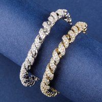 14mm Iced Out Cubic Zircon Cuban Link Rope Bracelet Real Plated Gold Silver Color Personality Hip Hop Jewelry