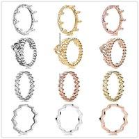 Cluster Rings Authentic 925 Sterling Silber Prinzessin Tiara Royal Crown Für Frauen Hochzeit Party Europe Schmuck
