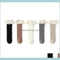 Baby Girl Socks Lace Cotton Todder Girls Sock Ruffle Kids Middle Tube Soft Princess Leg Warmer 5 Colors Dw6199 Materni Hx2Kf