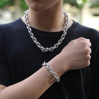 Street Hip Hop Iced Out Rivet Fashion Style Necklace Bracelet Cubic Zirconia Rapper O Shape Cool Bling Jewelry Men Gold Silver Chains