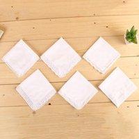 Novo branco laço fino lenço fino mulher presentes festa decoração pano guardanapo liso em branco diy lenço 25 * 25cm ewb7944