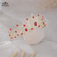 Pioessa Red Blue Wedding Crown For Bridal Headpiece Baroque Crystal Tiaras And Crowns Bride Tiara Hair Accessories Clips & Barrettes