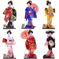 MYBLUE 30cm Kute Kawaii Hand Make Japanese Geisha Kimono Doll Sculpture Figurine Home Room Decoration Accessories Crafts Gifts